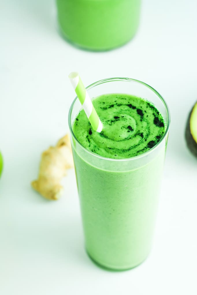 Avocado Spinach Green Smoothie in Glass