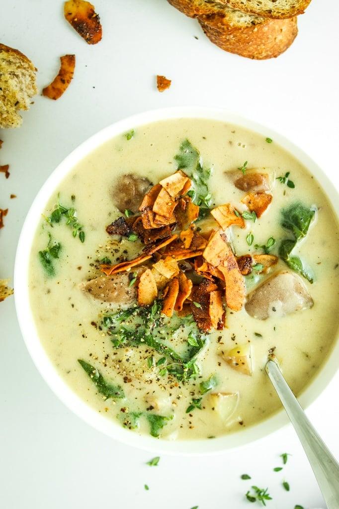 Dairy Free Potato Kale Soup with spoon