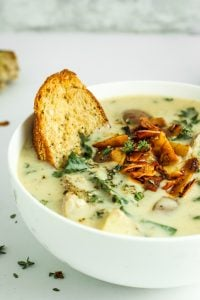 Dairy Free Potato Kale Soup - HANDS DOWN, this is my favorite comfort food soup. It's creamy, rich, and SO flavorful. Crazy easy to make. It's vegan and gluten free too.