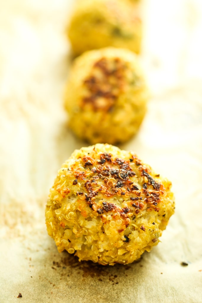 Herbed Cauliflower Quinoa Meatballs Close up