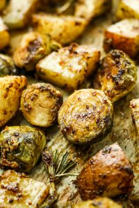 Honey Balsamic Brussels Sprouts and Potatoes - EASY vegetarian side dish. Honey, balsamic vinegar, mustard, and pepper. Oven roast and enjoy! Great for holidays, regular dinner, or meal prep.