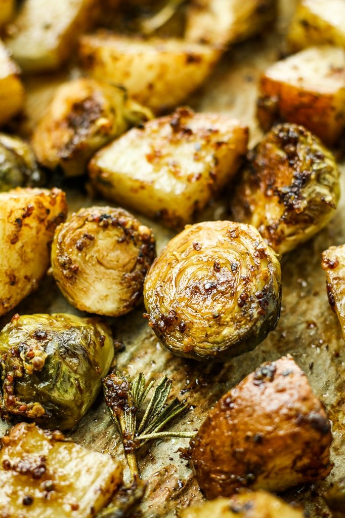Honey Balsamic Brussels Sprouts and Potatoes Close up