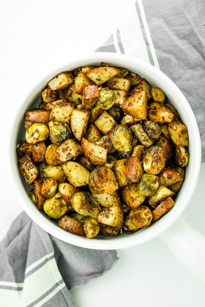 Maple Balsamic Brussels Sprouts and Potatoes