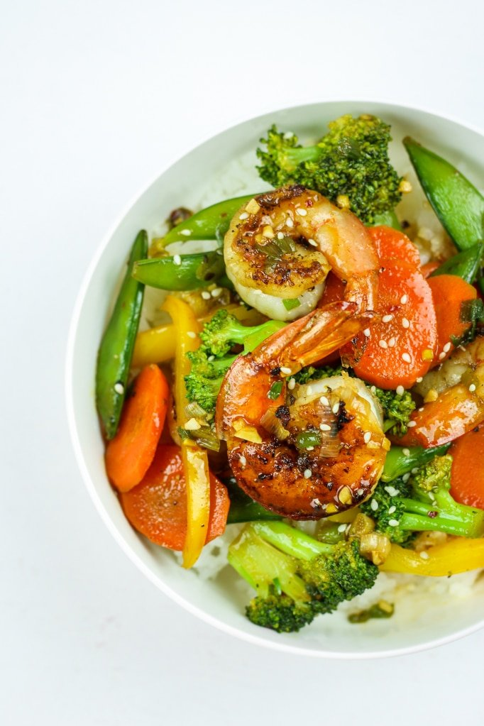 Honey Sriracha Shrimp and Veggie Meal in white bowl