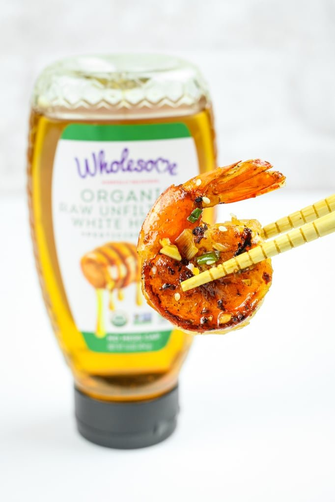 Honey Sriracha Shrimp and Chopsticks