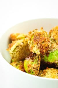 Crispy Oven Fried Brussels Sprouts - These are hands down THE BEST brussels sprouts I've ever eaten. Vegan since they're made with aquafina instead of egg. They turn out super crispy!