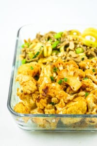 Thai Peanut Cauliflower Meal Prep - EASY vegan cauliflower meal prep. We love the Thai peanut sauce. Sometimes we pair with zucchini noodles or quinoa. Great meal prep for beginners.