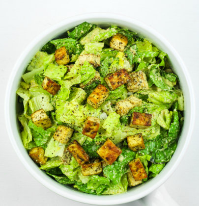 Vegan Caesar Salad with Crispy Tofu Croutons