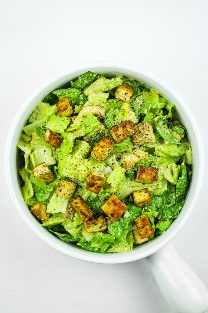 Vegan Caesar Salad with Tofu Croutons