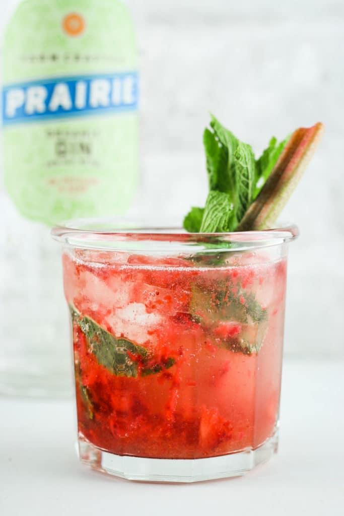 Strawberry Rhubarb Gin Smash Close up Gin Bottle