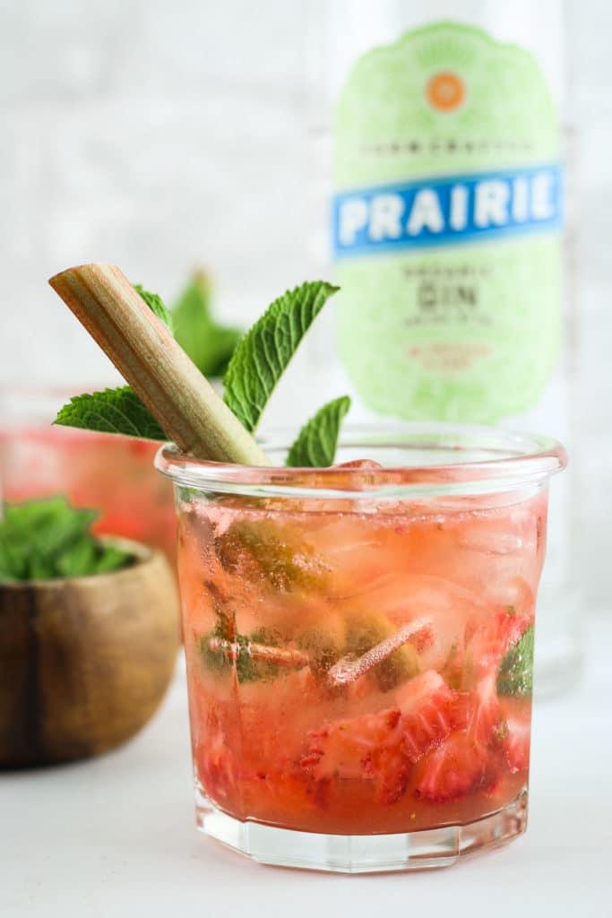 Strawberry Rhubarb Gin Smash Close up