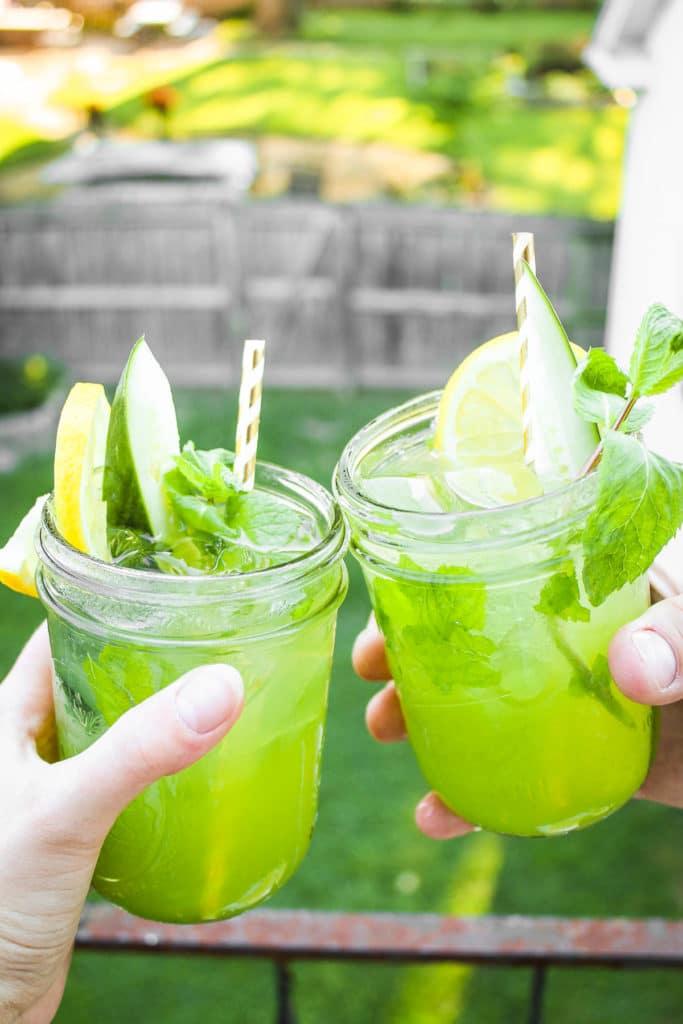 Toasting with Cucumber Vodka Lemonade