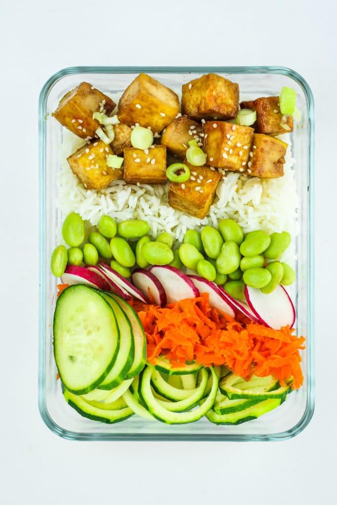 Tofu Poke Bowl Meal Prep in Glass Dish