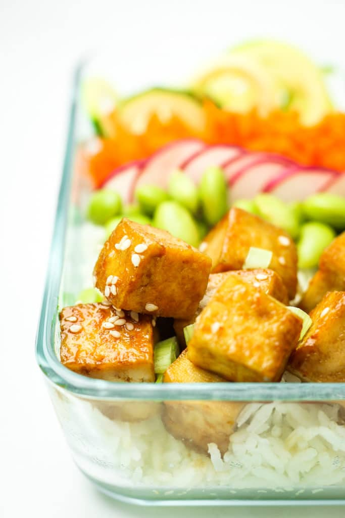 Tofu Poke Bowl Meal Prep Close up