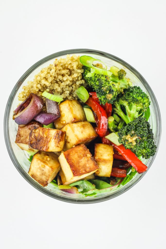 Teriyaki Tofu in Glass Bowl