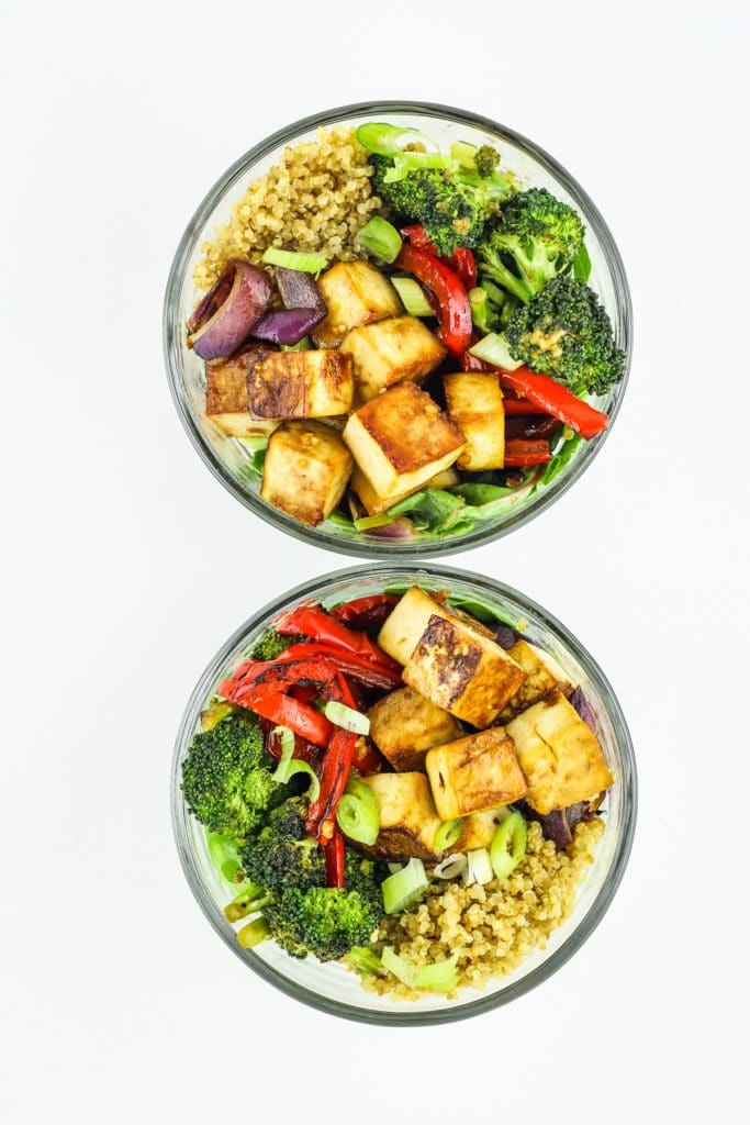 Teriyaki Tofu in two bowls