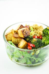 Teriyaki Tofu Meal Prep - This is an awesome vegan meal prep recipe for beginners! Everything comes together on sheet pans in less than 30 minutes!
