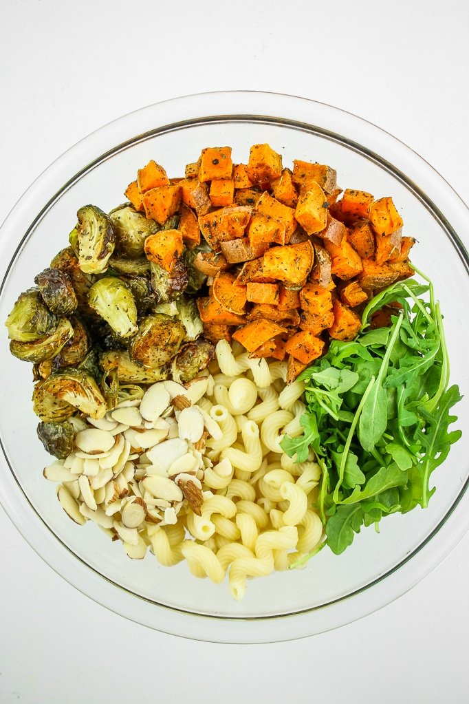 Vegan Fall Pasta Salad in Glass Bowl