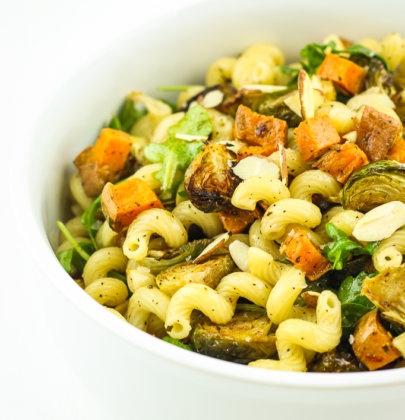 Vegan Fall Pasta Salad with Brussels Sprouts and Sweet Potatoes