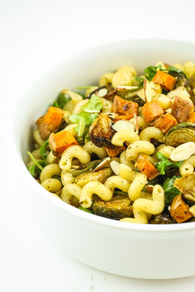 Vegan Fall Pasta Salad in bowl