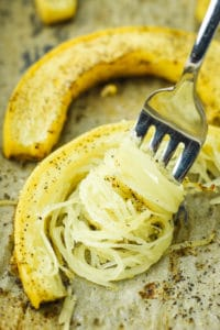 Quickest Roasted Spaghetti Squash – This is THE QUICKEST way to roast spaghetti squash. It takes just 30 minutes to cook (compared to 1 hour or more when cooking whole or halves) and it creates perfectly spaghetti-like strands!