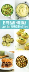 Vegan Holiday Side Dish Roundup – These are the BEST vegan holiday side dishes. Vegan salads, vegan mashed potatoes, vegan appetizers, vegan deviled potatoes!