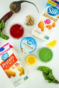 Prep Ahead Smoothie Recipes – Three easy prep ahead smoothie recipes – tropical oatmeal smoothie, ginger beet smoothie, and green protein smoothie! All of these are wholesome and filling vegan smoothie recipes made with plants and no artificial sweeteners. They can be prepped ahead in mason jars or plastic baggies for easy, effortless breakfasts!