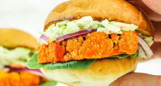 Buffalo Cauliflower Sliders with Blue Cheese Slaw