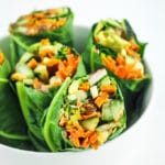 Sweet Potato Collard Wraps – Vegan chard wraps with peanut sauce and TONS of veggies. These are so easy, so addictive, and perfect easy vegan meal prep!
