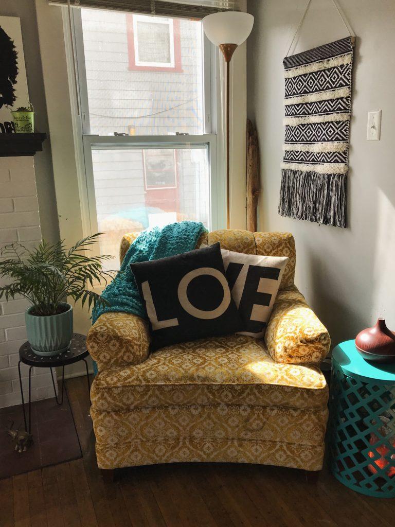 February House Update – Vintage velvet armchair