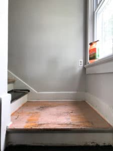 DIY Staircase Remodel – This is a step by step guide to remodeling your wooden stairs. Remove paint from stairs and stain them to your preferred color. #diy #homeremodeling #remodeling #stairs #homeproject #paintedstairs