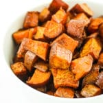 Maple Breakfast Sweet Potatoes – These are my new addiction. Perfectly sweet, smoky, mapley, and crispy. LOVE making these for brunch or breakfast any day of the week. #vegan #sweetpotatoes #brunch #veganbreakfast