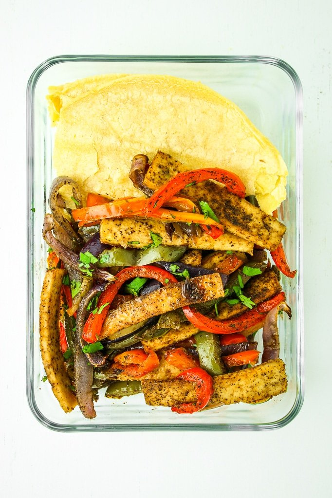 Sheet Pan Tofu Fajitas in dish