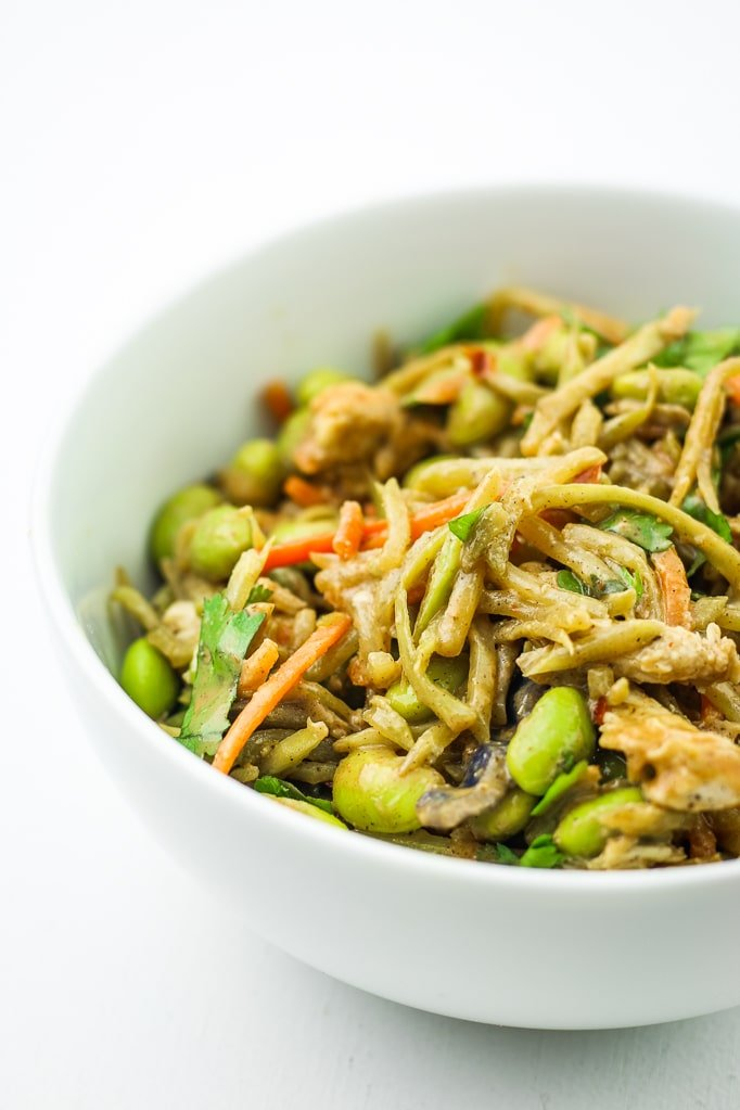 Broccoli Slaw Chicken Stir Fry in Bowl