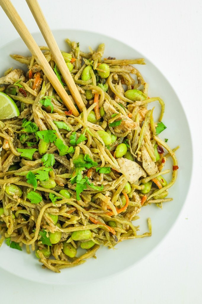 Broccoli Slaw Chicken Stir Fry with chop sticks