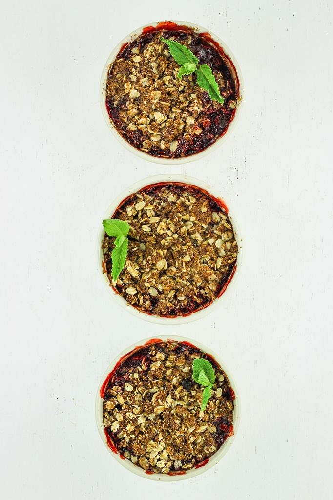 3 Bowls of Strawberry Rhubarb Crisp