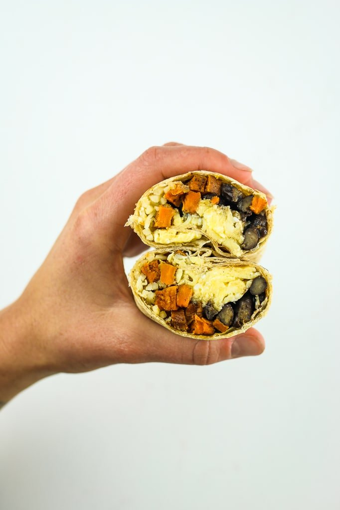 Breakfast burritos with sweet potatoes black beans and cheese