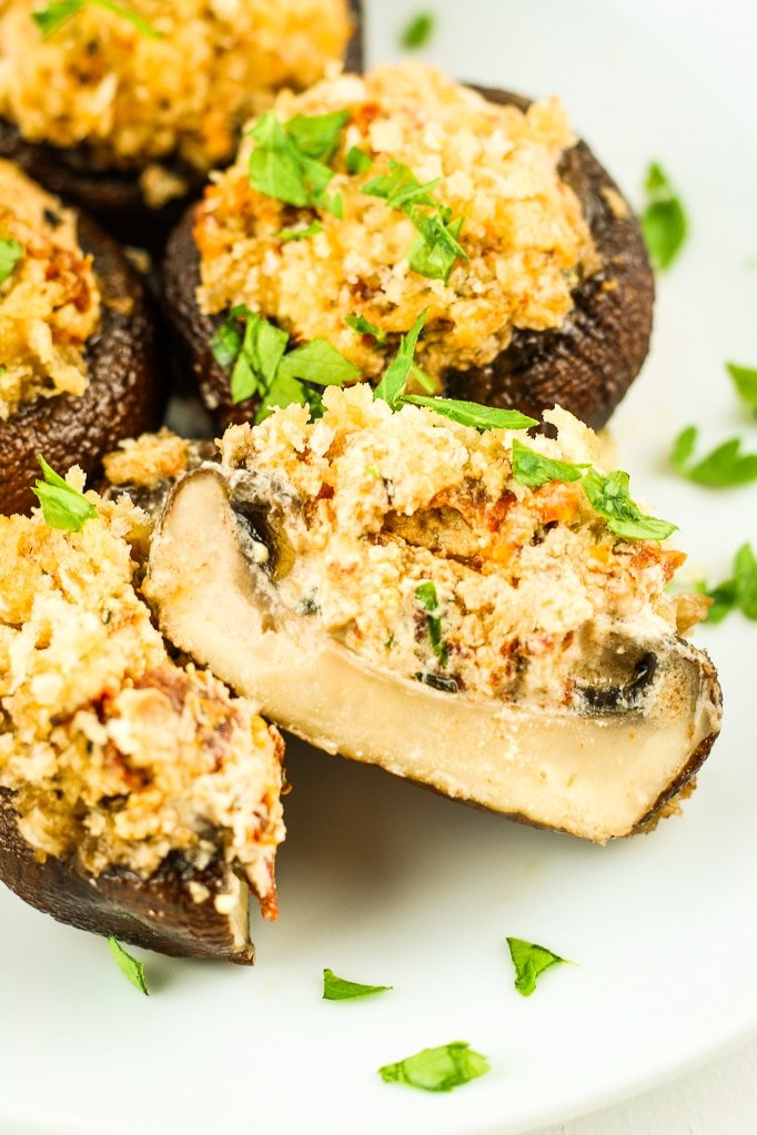 inside of Grilled Stuffed Mushrooms