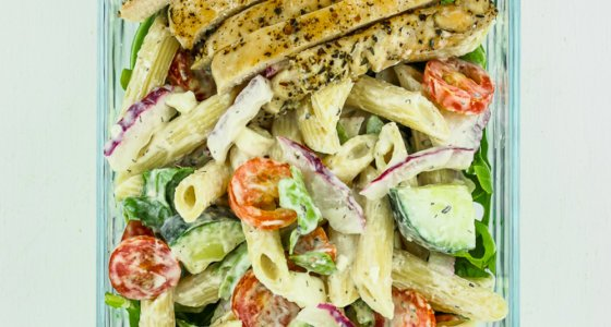 Greek Pasta Salad Meal Prep