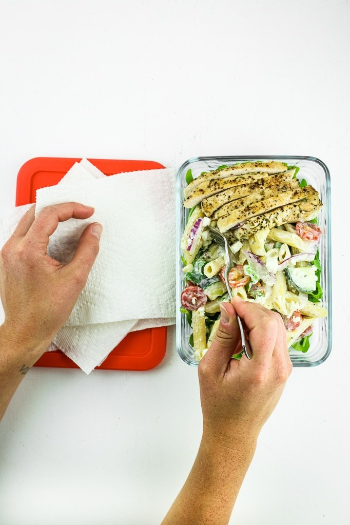Kitchen Roll Greek Pasta Salad Two Hands Eating