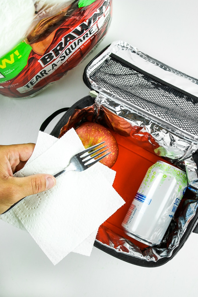 Lunch Box Apple Canned Drink Fork Kitchen Roll