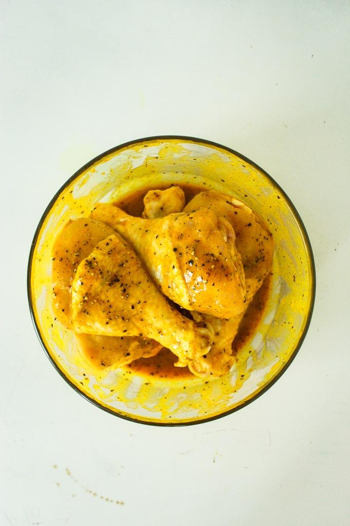 Spicy Honey Mustard Chicken Legs in Bowl