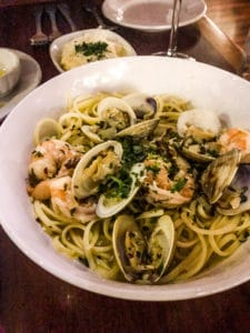 Seafood pasta dinner in Kauai