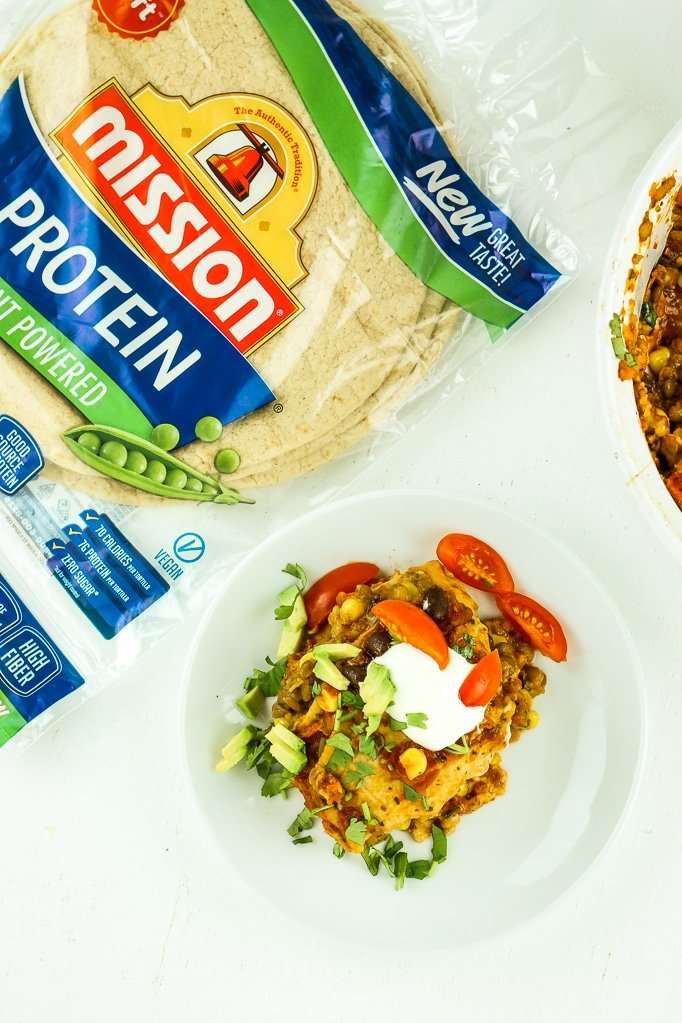 Vegetarian Taco Lasagna - EASY protein packed vegetarian taco lasagna.