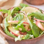 Mixed baby leaf salad, Apple & Goat cheese