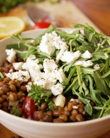 Lentil Salad in White Bowl