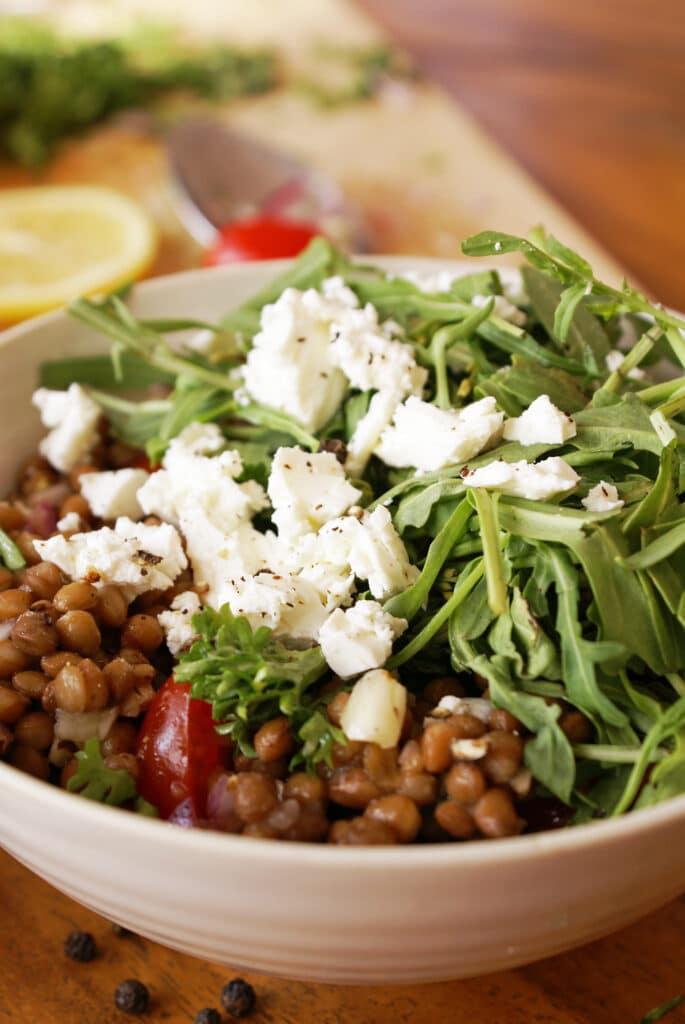 Lentil Salad in White Bowl