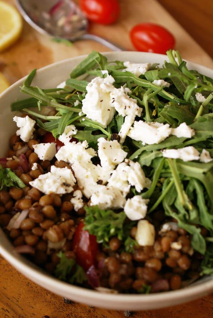 Lentil Salad in Bowl Tomatoes