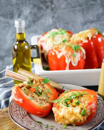 delicious stuffed peppers with grilled chicken